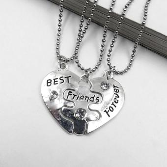 3 Pcs Best Friends Forever Split Heart Friendship Chain Necklace Set - intl