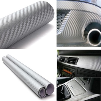 30cmx127cm 3D Carbon Fiber Vinyl Car Wrap Sheet Roll Film Car Stickers And Decals Motorcycle Car Styling Accessories Automobiles,Silver - intl