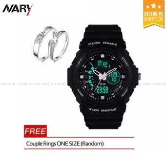 316 Men's Black Rubber Strap Sports Watch (Orange) With Free Couple Rings ONE SIZE(Random) Price Philippines