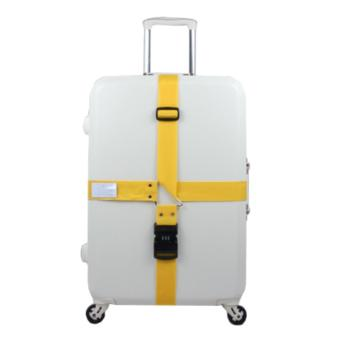360DSC Adjustable Password Lock Luggage Suitcase Cross Strap Travel Baggage Bag Belt with Tag - Yellow Price Philippines