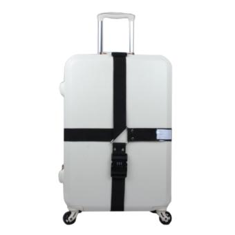 360DSC Adjustable Password Lock Luggage Suitcase Cross Strap TravelBaggage Bag Belt with Tag - Black