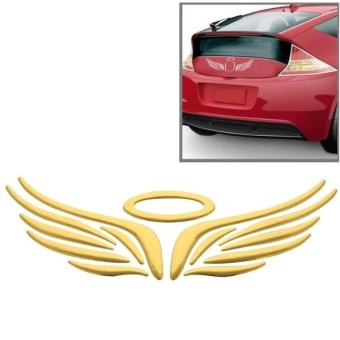 3D Angel Wings Pattern Car Sticker, Size: 16cm X 5.5cm (approx.)(Gold) - intl
