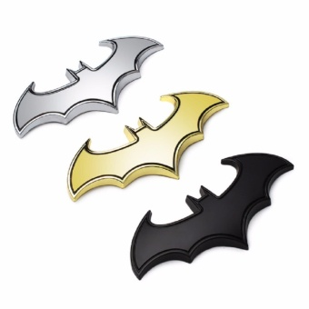 3D Cool Metal bat auto logo car styling car stickers metal batbadge emblem tail decal motorcycle car accessories (Silver)