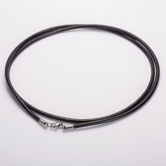 3MM Men & Women Stainless Steel Lobster's Clasp Black GenuineLeather Cords Rope Chain Necklace 60cm Long - Intl