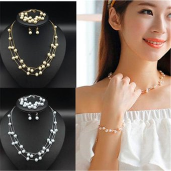3pcs Korean Style Fashionable Sweet Simple Multi Layers Pearl Lady Bracelet Necklace and Earrings Jewelry Set for Wedding - intl
