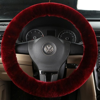 3pcs/1set Wool Plush Steering Wheel Cover Sets Sleeves Pillow Winter Warm - intl