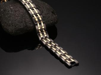 4 In 1 Bio Magnetic Bracelet Black Color IPG Gold Plated PowerSports Bracelets For Men Energy Bangles Hand Chain 10114 - intl - 5