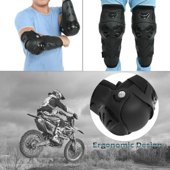 4 pcs Motorcycle Motocross Cycling Elbow and Knee Pads ProtectorGuard Armors Set Black - intl