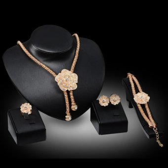 4 Piece Suit 18k Gold Plated Flower Shape Women Fashion Diamond Ring Bracelet Necklace and Earrings Accessories Jewelry Set - intl