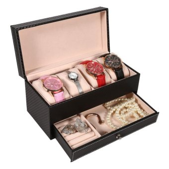 4 Slot Leather Watch Storage Box Case Jewelry Organizer Container(Black) - intl