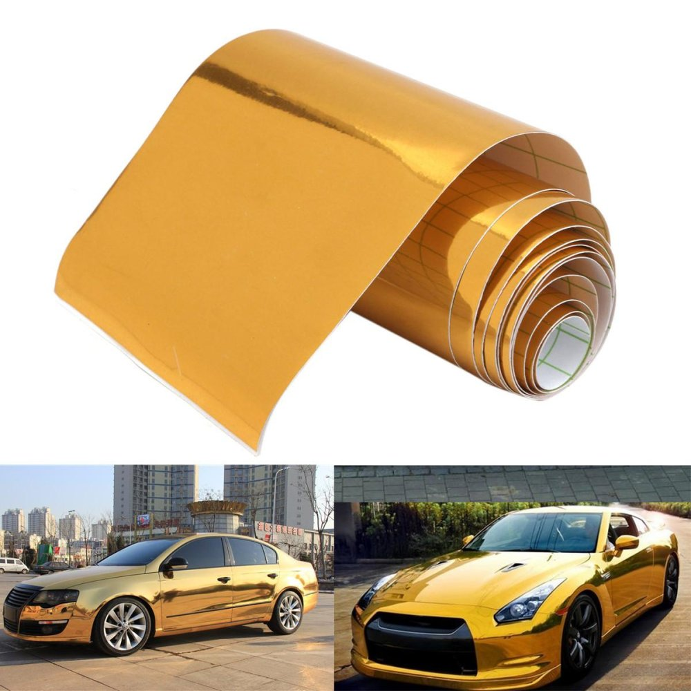 """4""""x60"""" Gold Chrome Vinyl Wrap Film Car Sticker Decal With Air Bubble Free - intl"""