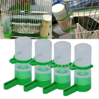 4Pcs Bird Food Feeder Waterer Drinking Water Bottle with Clip for Lovebirds Cage - intl
