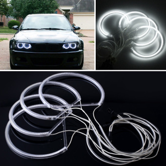 4X Angel Eye Halo Ring Light CCFL Headlight Lamp For Car BMW E46 White DC12V
