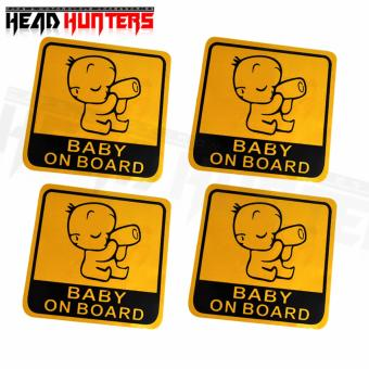 4x BABY ON BOARD Caution Car Sticker (Yellow) - 3