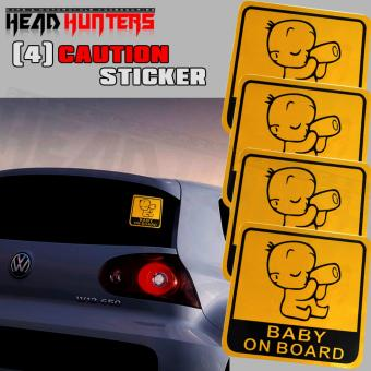 4x BABY ON BOARD Caution Car Sticker (Yellow)