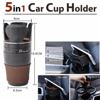 5 in 1 Adjustable Auto Multi Cup Holder (Black)