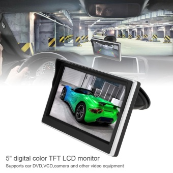 5 Inch Car TFT LCD Monitor 800*480 16:9 Screen 2 Way Video Input for Rear View Backup Reverse Camera DVD VCD - intl