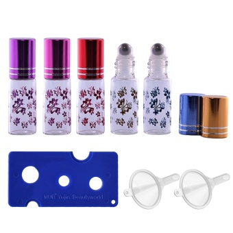 5 PCS 5ml Portable Empty Refillable Roll On Roller Ball Butterfly Glass Bottles Vial + 2 PCS Transfer Funnel + 1 PCS Bottle Opener Set for Fragrance Aromatherapy Essential Oil Perfume - intl
