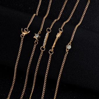 5 Pieces Bracelet Set Moon Crescent Star Arrow Crystal Bracelet Set Gift Idea Friendship Bracelet Set - 2