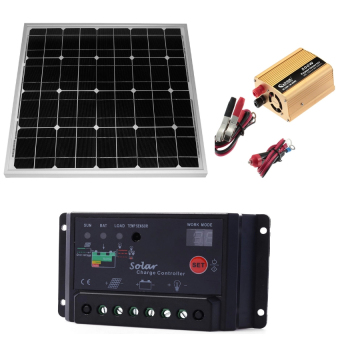 50W solar panel with 500w SOLAR POWER Inverter Converter Dc 12v toAc 220v ADAPTOR with 10A Solar Panel Charge Controller