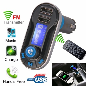 5in1 Wireless Bluetooth Car Music Player FM Transmitter Dual USB Car Charger Control Hands-Free Calling smart phone Tablets Mp3 Mp4 Player CE006(Blue) - intl