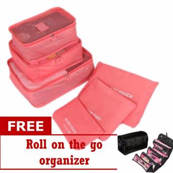 6 in 1 Travel Luggage Packing Bags (Pink) with Free Roll-N-GoOrganizer