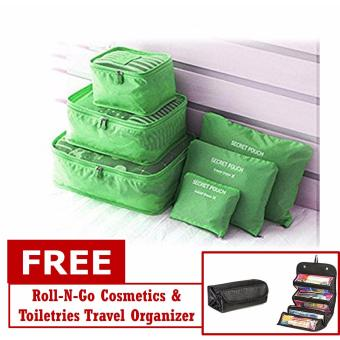 6 in 1 Travel Packing Bag (Green) with FREE Roll N Go Organizer