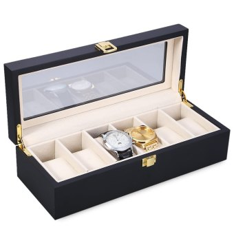 6 Slots Wood Watch Display Case Watches Box Glass Top JewelryStorage Organizer - Intl