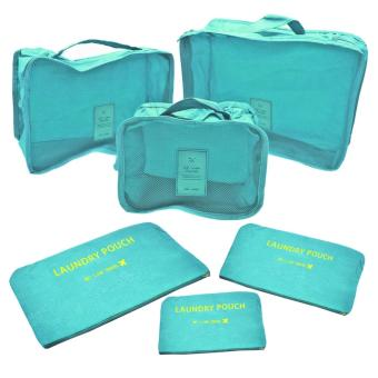 6Pcs Clothes Storage Bags Packing Cube Travel Luggage OrganizerPouch (Lt.Blue)