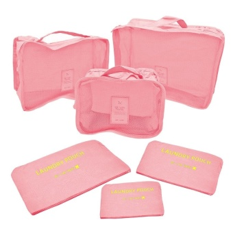 6Pcs Clothes Storage Bags Packing Cube Travel Luggage OrganizerPouch (Lt.Pink) with Free Portable USB Mini Fan for iPhone/iPad