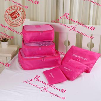 6pcs Storage Bags Packing Travel Luggage Organizer (Pink)
