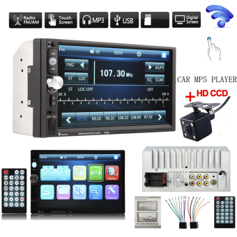 7 Inch HD Bluetooth Car Stereo Radio In-Dash Touchscreen 2 DIN FM MP5 Player + 420 TV Lines IR Camera