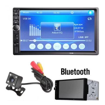7018B 7 Inch LCD HD Double DIN Car In-Dash Touch Screen BluetoothCar Stereo FM MP3 MP5 Radio Player With Night Vision Waterproof CarRear View Camera