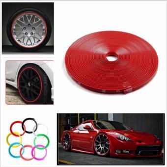 8M Car Wheel Rim Edge Protector Tire Rubber Guard Sticker Line Strip(Red)