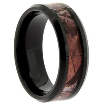 8mm Comfort Fit Tungsten Ring with Rich Brown and Black Inlay (Intl)