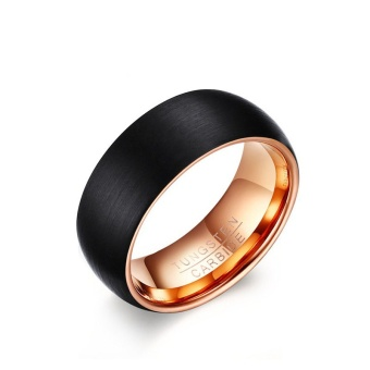 8MM Matte Finished Rose Gold Black Tungsten Carbide Wedding Rings For Men    Intl