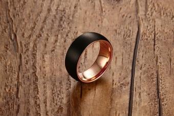 8MM Matte Finished Rose Gold Black Tungsten Carbide Wedding Ringsfor Men - intl - 4