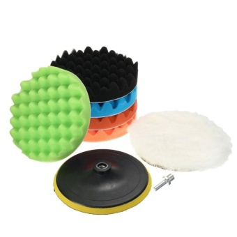8Pcs 7inches Car Polishing Waxing Set Sponge Buffing Pad Accessory Automobile Polisher Buffer Kit Compound with M14 Drill Adapter Kit - intl