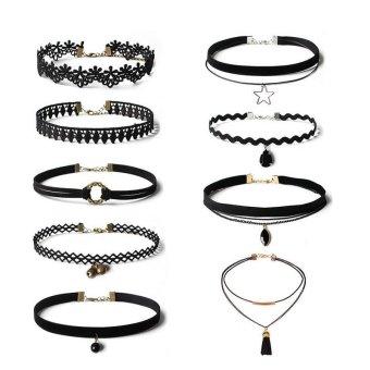 9 Pcs/Set Lace Choker Necklaces Collar Gothic Necklace for Women - intl - 2