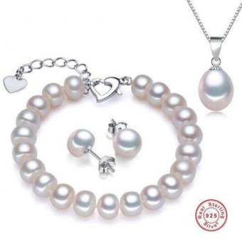 925 Silver top quality 100% genuine freshwater pearl jewelry sets for women pendant necklace and earrings - intl