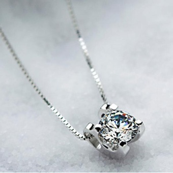 925 Sterling Silver Chic Squre Shiny Crystal Necklace Pendant GirlJewelry Gift - intl