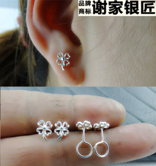 999 female four-leaf clover stud sterling silver earrings