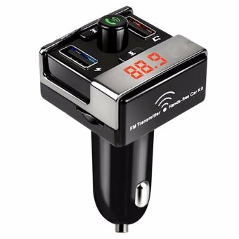 A7 Bluetooth Car Kit FM Transmitter MP3 Player Car ChargerHands-free Call Support USB Flash Drive TF Card (Black)