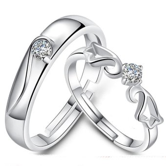 Adjustable Couple Rings 925 Silver Romentic Lover Ring Jewelry E005 - intl