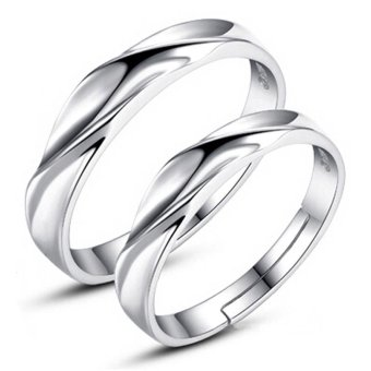 Adjustable Couple Rings 925 Silver Romentic Lover Ring Jewelry E008 - intl