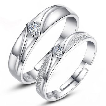 Adjustable Couple Rings 925 Silver Romentic Lover Ring Jewelry E018 - intl