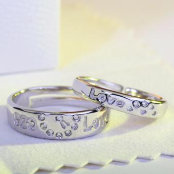 Adjustable Couple Rings 925 Silver Romentic Lover Ring Jewelry E021 - intl