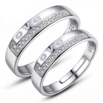 Adjustable Couple Rings 925 Silver Romentic Lover Ring Jewelry E022 - intl