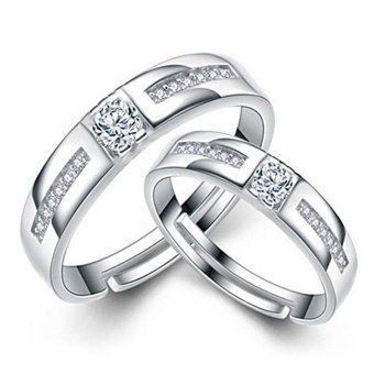 Adjustable Couple Rings 925 Silver Romentic Lover Ring Jewelry E024 - intl