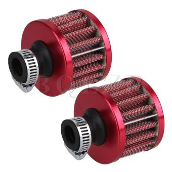 Air Intake Car Fine Mesh Air Breather Filter Set of 2 Red